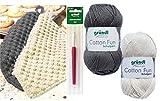HdK-Versand SB Pack Gründl Cotton Fun Häkelset für Topflappen Inhalt 4x50g Material 100% Baumwolle incl. Gratis Häkelanleitung und Häkelnadel (Creme Grau)