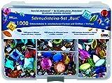 Kreul 49641 - Schmucksteine Set, 1000 bunte Steine in verschiedenen Formen und Größen, für die Gestaltung von modischen Accessoires und zur Gestaltung im Home Deco Bereich