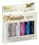 folia 36019 - Perlenstifte Set, 6 Perlen Pens mit je 30 ml, auf Wasserbasis, zum Gestalten von 3D Farbpunkten auf Papier, Textil, Holz, Keramik, usw. nach Trocknung wasserfest, waschbar