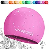 CybGene Silikon Badekappe für Kinder, Kind Schwimmkappe Bademütze für Kinder Schwimmunterricht-Rosa