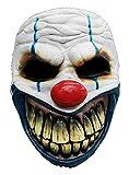 Clown Maske des Grauens aus Latex - Erwachsenen Horror-Clown Kostüm Maske - ideal für Halloween, Karneval, Motto- & Grusel-Party