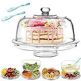 Masthome 6 in 1 Multifunktional Kuchenteller Kuchenständer 31cm,Salatschüssel mit Deckel auch Chip & Dip Servierer mit Haube,Kuchen Transportbox
