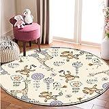 Kreative Affengiraffe Runder Teppich Sofa Couchtisch Exquisiter Polyester Teppich Wohnzimmer Schlafzimmer Rutschfester Teppich120 * 120Cm