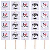 ABOOFAN 25pcs Vater Kuchen Topper mit I Love My DAD Happy Fahthers Day Geburstag Kuchen Dekoration Party Ornamente Tortenaufsatz Foto Requisiten für Vatertag Geburtstag