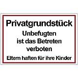 Geschenke-Fabrik Hinweisschild Privatgrundstück - Mit der Aufschrift 'Unbefugten ist das Betreten verboten, Eltern haften für ihre Kinder' - Schild ist wetterfest - Alu/Dibond 200x300 mm - 3 mm stark