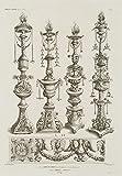 H. W. Fichter Kunsthandel: CLERGET; Reynard, Vier Kandelaber, nach Lambert HOPFER, 19. Jh, Radierung