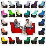 HomeIdeal - 2Farbiger Gamer Sitzsack Lounge Bodenkissen für Erwachsene & Kinder - Gaming oder Entspannen - Indoor & Outdoor da er Wasserfest ist - mit EPS Perlen, Farbe:Schwarz-Rot, Größe:Erwachsene
