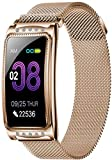 JSL Smart-Armband für Damen, Blutdruck-Mode, Fitness-Tracker, Gesundheitsarmband, Smartwatch für Android, iOS, Silber, Gold, Gold