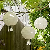 Lights4fun 3x LED Solar Lampions mit Fransen Solarbetrieb 35cm