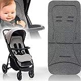 Baby/Kind Wende - Sitzauflage für Buggy und Kinderwagen/Einlage mir extra weichen Memoryschaum und Bezug aus 100% Baumwolle (Grau Melange)