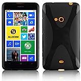 Cadorabo Hülle für Nokia Lumia 625 in Oxid SCHWARZ – Handyhülle aus flexiblem TPU Silikon – Silikonhülle Schutzhülle Ultra Slim Soft Back Cover Case Bumper