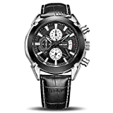 Megir Quarz-Armbanduhr, analog, wasserfest, leuchtend, Chronograph, Lederband, mit Kalender. 2020black