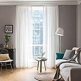 MIULEE Voile Vorhang Transparente Gardine aus Voile Einfarbig Stangendurchzug Transparent Wohnzimmer Luftig Dekoschal für Schlafzimmer 2er Set 215 x 140cm ( H x B), Rod Pocket Weiß