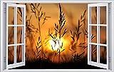 DesFoli Sonnenaufgang 3D Look Wandtattoo 70 x 115 cm Wanddurchbruch Wandbild Sticker Aufkleber F349