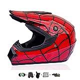 Kindermotorradhelm, Kinderkreuzhelm Entworfen mit Fox Kids Downhill Helm mit Handschuhen/Schutzbrille/Maske/Bungy Net (5 PCS) (M: 55-56 cm)