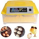 Vollautomatische Inkubator, Brutmaschine für bis zu 48 Hühnereier Brutapparat mit LED Temperaturanzeige Temperatur- und Feuchtigkeitsalarm für Eier Enteneier Gänseeier Truthahn usw (48 eggs, Gelb)