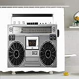 N\A Duschvorhang Set mit Haken Silber Retro Ghetto Blaster Deck Audio Bass Dance Boombox Clipping Radio Vintage Objekte Kassette Wasserdichtes Polyestergewebe Bad Dekor für Badezimmer