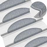 15 Stück Stufenmatten Selbstklebend 56 x 17 x 3 cm Antirutschmatte waschbar für Stufen, Hellgrau