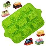 KeepingcooX 3D Cartoon Zug Form für Kinder Geburtstagsfeier | Antihaft-Silikon-Muffin-Backblech in Lebensmittelqualität | Extra dick, 39 x 24 x 5 cm, 9 H