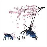 Kibi Wandaufkleber Wandtattoo Wandsticker, Schmetterlings Fee Aufkleber Schlafzimmer Wohnzimmer Wände Mädchen Schmetterling Blumen-Fee Aufkleb