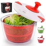 Zulay Kitchen Salatschleuder mit großem Fassungsvermögen von 5 l – manueller sicherem Deckelverschluss und Drehgriff einfach zu bedienende Schüssel, Sieb integriertem Abtropfsystem (rot)