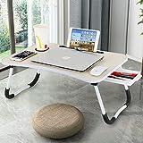 Astory Laptop Schreibtisch mit Schublade, tragbare Laptop Bettablage Tisch Notebook Ständer Lesehalter mit faltbaren Beinen & Cup Slot für Couch Boden Kinder (Beige)