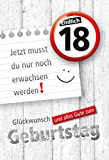 KE, Geburtstagskarte zum 18. Geburtstag | Karte zur Volljährigkeit | Geburtstagskarte mit Zahl und Button | Karte zum 18. Geburtstag im Set | DIN A6 | inkl. Umschlag | Motiv: 18