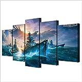 Airxcn Drucke auf Leinwand Dekor Bilder Home Decor Gemälde auf Leinwand 5 Panel World of Warships Landschaft Wand für Wohnzimmer Hd Print