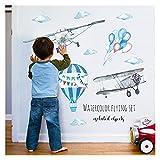 QHMDZ Wandaufkleber Cartoon Flugzeug Heißluftballon Wandaufkleber Kind Kinderzimmer Dekoration Wohnkultur Schlafzimmer Küche Poster (Color : Flying Set, Size : XL)