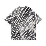 N\C National Tide Zebra Gestreiftes Kurzarm-T-Shirt Herren Tide Brand Rundhalsausschnitt Mit Halben äRmeln Street Trend Loses FüNf-Punkt-äRmel-T-Shirt