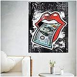 NIEMENGZHEN Druck auf Leinwand Zitat Poster Frau Lippen mit US Dollar Druck Wandmalerei auf Leinwand Bild Wohnzimmer Geld Kreative Kunst Poster-60x80 cm Kein Rahmen