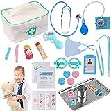 Sundaymot Arztkoffer Holz Doktor Spielzeug mit Echt Stethoskop Thermometer, Spritze und praktischem für Kinder Rollenspiel Medizinisches Geschenk ab 3 4 5 Jahren Jungen