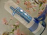 Taufkerze Kreuz blau silber mit Taufsymbolen christlich Taufkerzen für Jungen 250/70 mm mit Name und Datum