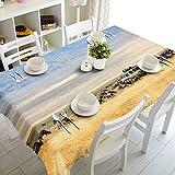 Dreamdge Tischdecke Hellbraun Grünlandlandschaft, Tischdecke Couchtisch Wasserdicht Tischtuch Polyester 140x180