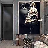 SHKHJBH Modernes Poster Zeitungscover Gesicht Kreative Kunst Poster Sexy Modell Wandkunst Make-up Bilder Wand Wohnkultur 40x60cm ohne Rahmen
