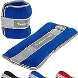 Movit® 2er Set Gewichtsmanschetten Neopren mit Reflektormaterial Laufgewichte für Hand- und Fußgelenke 2X 0,5 kg blau