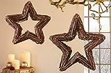 """2er Set Hänger """"Reisigstern"""" aus Rattan, handgebundene Tür & Fenster Deko, Weihnachtsstern"""