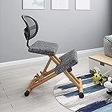 ZGYZ Moderne Möbel Kniestuhl Höhe Verstellbar für das Büro mit dicken Schaumstoffkissen und atmungsaktivem Rückenstützknie-Hocker (grau)