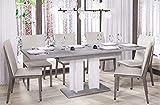 Esstisch Aurora 210 ausziehbar erweiterbar Küchentisch Säulentisch Weiß Bicolour (Beton)