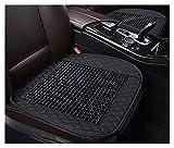 WEIWEIMITE Ohne Rückenlehne Autositzabdeckung Kissen, Holzperlenkühle erfrischend Massagen Komfort Kissenmatte, Sommer Autositzschutz, Größe: 50cmx49cm (Color : Black, Size : 50cmx49cm)