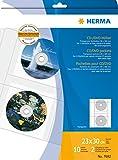 Herma 7682 DVD CD Hüllen transparent, Kunststoff (für max. 20 CD DVD, 2 Stück je Hülle) 10 Sichthüllen DIN A4, mit Sicherungslasche u. Eurolochung, für Ringbücher oder Ordner