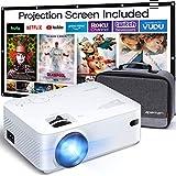 Beamer APEMAN Mini Beamer Support 1080P FHD Video Projektor mit Tasche mit 100 Zoll Screen ,Geräuscharm Projektor LED 60000 Stunden Heimkino mit Smartphone,Laptop,HDMI,TF,USB ,TV Stick Handybeamer