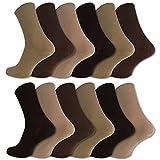 12 Paar Socken ohne Gummidruck 100% Baumwolle Damen & Herren Diabetiker Socken (43-46, Beige/Braun)