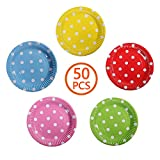 50 Stück Runde Punkte Pappteller, DIY Einwegplatte, mehrfarbige Spot Partyteller, Biologisch Abbaubar und Ungiftig, für Lebensmittelplatte auf Party oder Farbwanne für Kinder zum Selbermachen (7 Zoll)