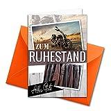 XXL Glückwunschkarte zum Abschied - Ruhestand DIN A4 - große Karte zur Verabschiedung - 5 Stück - Set mit großem Umschlag DIN C4 - Motorrad Bike Thema