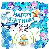 Xddias Geburtstags Deko Jungen, 101 Stück Geburtstagsdeko für Mädchen Jungs, Kindergeburtstag mit Meer Tiere Delphin Hai Clownfisch Seestern Fisch Folien Luftballon Happy Birthday Banner