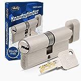 GERCAR Pro Knaufzylinder 35/35 Massiver Schließzylinder mit Knauf Zylinderschloss Türschloss - aus Messing Matt Vernickelt - inkl. 5 Schlüssel - Wendeschlüssel - Länge: 70 mm, A:35 B:35 - 1x