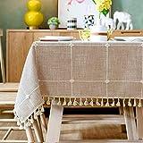 Topmail Rechteckige Tischdecke Tischwäsche abwaschbare Tischtuch aus 100% Polyester Geeignet für Home Küche Dekoration (Khaki, 140 x 200 cm)