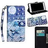THRION Apple iPhone 7 / iPhone 8 Hülle, PU 3D Brieftaschenetui mit magnetischer Handschlaufe und Ständerhalterung für Apple iPhone 7 / iPhone 8, Wolf#2