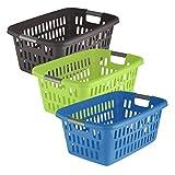 axentia Wäschekorb aus Kunststoff, Wäschesammler mit Lochstruktur, 60 Liter
